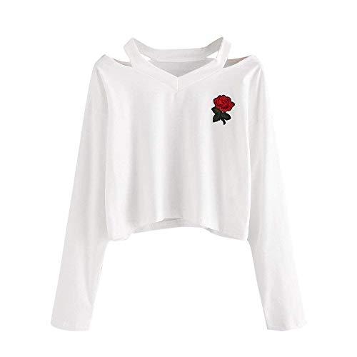 Size Moda Trendigenn M Casual Con Rose Ricamo Felpa Hoodies 1 color Coulisse Stile Modern Manica Cappuccio Autunno Stripe White Giovane Eleganti Lunga Donna Pullover qTwTIFB