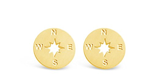 Rosa Vila Compass Earrings - Direction of Life & I'd Be Lost Without You, Earrings for Going Away Gifts, Travel Gifts, College Graduation Gifts for Her (Gold Tone)