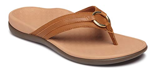 Vionic Women's Tide Aloe Toe-Post Sandal - Ladies Flip- Flop with Concealed Orthotic Arch Support Mocha Leather 8 Medium US