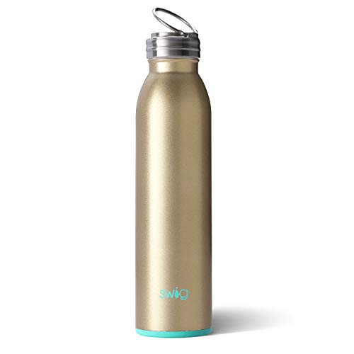 (Swig Life Stainless Steel Signature 20oz Water Bottle with Screw-On Flip Ring Cap in)
