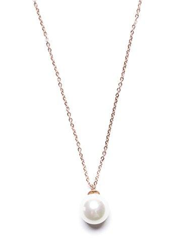 Happiness Boutique White Imitation Pearl Charm Necklace Rose Gold | Elegant Pendant Necklace Single Imitation Pearl