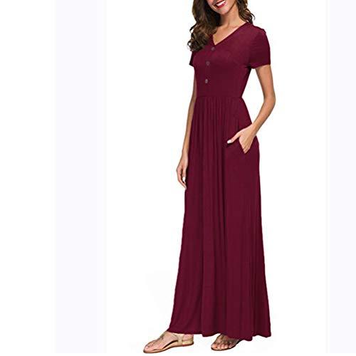 Twinsmall Maxi Dress, Women Casual Long Plain Dress Boho V Neck Sleeveless Flowy Pleated Loose Long Beach Party Dress (M, Wine Red)
