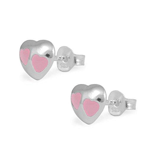 Children Silver Pink Enameled Heart Stud Earrings For Girls