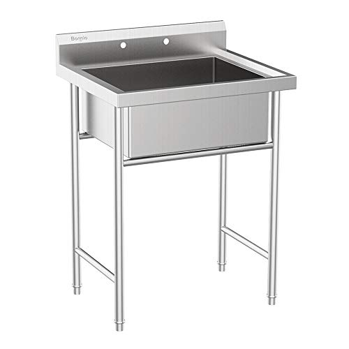 "Bonnlo Commercial Grade 304 Stainless Steel Utility Sink Restaurant Sink Laundry Tub for Washing Room, Kitchen, Workshop, Basement, Garage, Restaurant - 23""L x 18""W x 9""D Inner Tub Size"