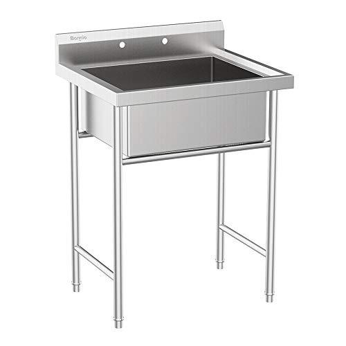 Bonnlo Commercial Grade 304 Stainless Steel Utility Sink Restaurant Sink Laundry Tub for Washing Room, Kitchen, Workshop, Basement, Garage, Restaurant - 23