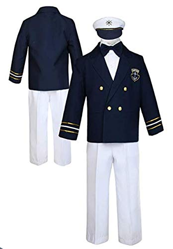 Boys Sailor Short Set - Navy White Captain 4 PC Outfit With Hat (M (12M)) -