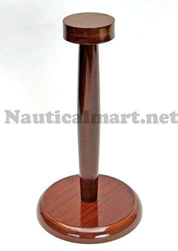 NauticalMart Helmet Stand- Medieval Armour Helmet Display Stand Wooden (Wood Stand Helmet)