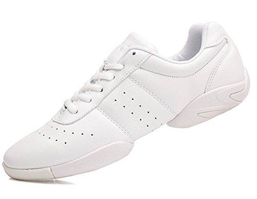DADAWEN Women's Sport Training Cheerleading Shoes White US Size 8/EU Size 40