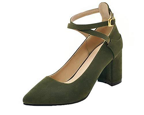 Gmmdb008422 Punta flats Ballet Luccichio Fibbia Chiusa Tacco Verde Medio Puro Donna Agoolar Eawqvv