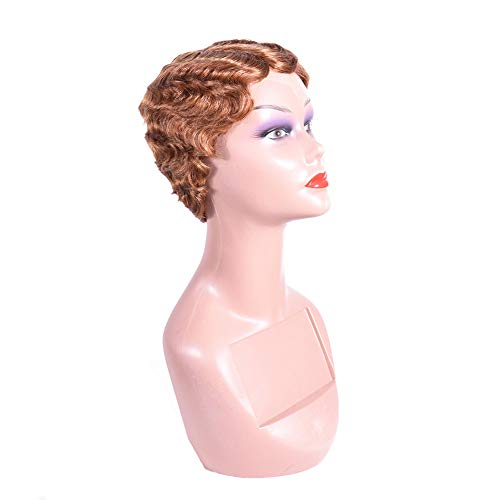 Short Finger Waves Hairstyles Wig 100% Human Hair for Women African American Black Flapper Hairstyles Lace Wig Medium Auburn Color]()