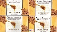 Venezia Soapworks Pure Vegetable Soap, Honey Almond, 7 Oz (Pack of 4)