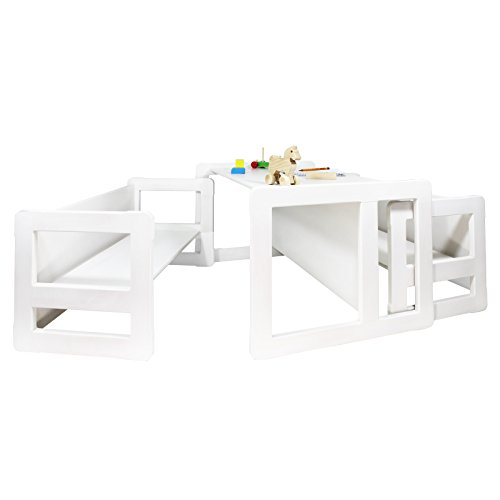 3 in 1 Childrens Multifunctional Furniture Set of 3, Two Small Benches or Tables and One Large Bench or Table Beech Wood, White Stained by Obique Ltd