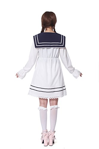 Lemail Girls Sailor School Uniform Chiffon Long Sleeve Japanese Pleated Mini Dress Pink M by Lemail wig (Image #5)