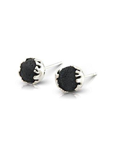 FOLD Stud Earrings in Lava and Sterling Silver by Aurum by Guðbjörg Jewellery
