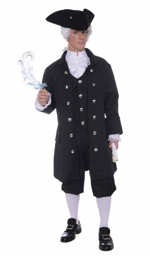 Forum Novelties Men's Founding Father Patriotic Adult Costume, Black, (Colonial Costumes For Adults)