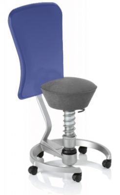 Aeris Swopper Classic - Bezug: Microfaser / Smoke-Grau | Polsterung: Tempur | Fußring: Titan | Universalrollen für alle Böden | mit Lehne und blauem Microfaser-Lehnenbezug | Körpergewicht: MEDIUM