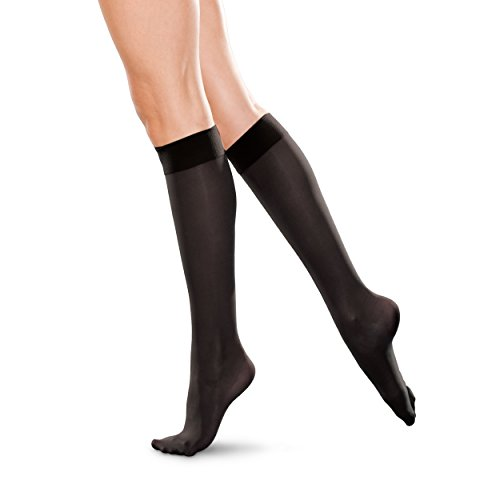 Therafirm  Knee High Support Stockings – 20-30mmHg Moderate Compression Nylons (Black, 4X-Large)