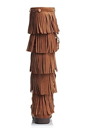 Canna Donna Forma a da Apricot Stivali Piatta con Lunga di Stivali a Testa Frange RIqUW55z