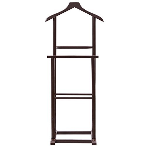 Brown Functional Men Double Suit Shelf Hanger Stand Birch Clothes Coat Rack Lightweight