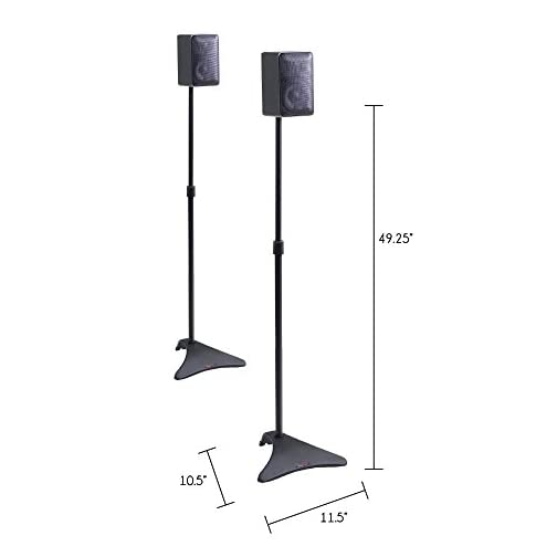 Atlantic Adjustable Height Speaker Stands Black – Set of 2 Holds Satellite Speakers, Adjustable Stand Height from 27 to…