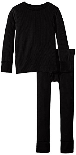 Fruit of the Loom Little Boys' Boys' Soft Cotton Waffle Thermal Underwear Set, Black Soot, 4/5