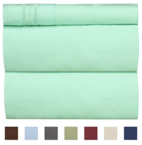 CGK Unlimited Twin XL Sheet Set - 3 Piece - Fits College Dorm Rooms - Hotel Luxury Bed Sheets - Extra Soft - Deep Pockets - Easy Fit - Breathable & Cooling - Mint Green Bed Sheets - Twins