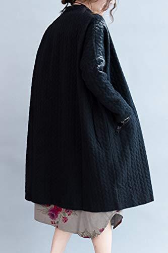 Donne Pulsante Sopliagon A Tasca Indumenti Maniche Black Con Cardigan Esterni Lunghe Le U1wqEw75