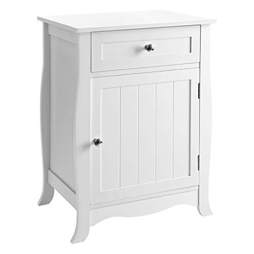 SONGMICS White Nightstand BedsideTable Wooden Furniture End Chair Side Table with Drawer and Cabinet Organizer for Storage ULET02WT ()