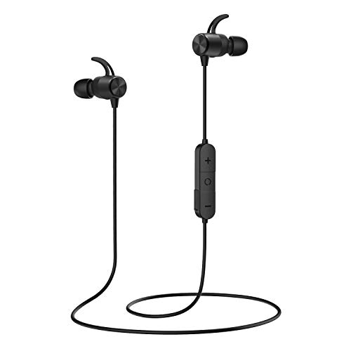 MoKo Magnetic Wireless Earbuds, Bluetooth Headphones, APT-X HiFi Stereo Sports in-Ear Earphones with Mic, IPX5 Waterproof, Secure Fit Noise Cancelling, 7 Hours Playtime for Running, Workout - Black