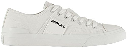 (#Replay Maple White Orange Mens Canvas Trainers Shoes)