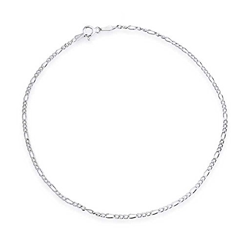 Fine Jewelry Sunny Solid 925 Sterling Silver 2.2mm Italian Diamond Cut Figaro Link Chain Anklet Matching In Colour Fine Anklets
