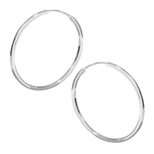 VINANI Creolen Medium Hoop eckig Silber 925 Ohrringe CMH