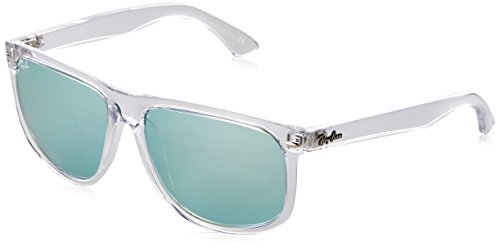 Ray-Ban RB4147 Boyfriend Square Sunglasses, Transparent/Green Silver Mirror, 60 mm