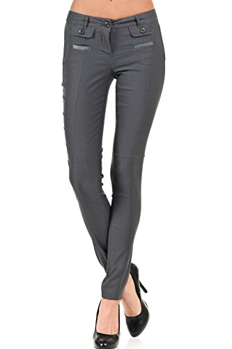 Flap Pocket Trousers - VIRGIN ONLY Women's Color Trouser Pants with Flap Button Pockets (01 Gray, Size Small)