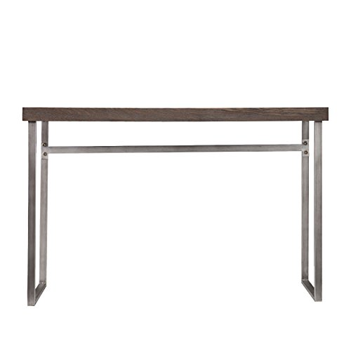 Southern Enterprises Nolan Media Console Table, Weathered Burnt Oak Finish with Chrome - Oak Table Southern Enterprises