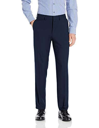 Haggar Men's Premium Comfort Straight Fit Flat Front Dress Pant, blue, 32Wx30L