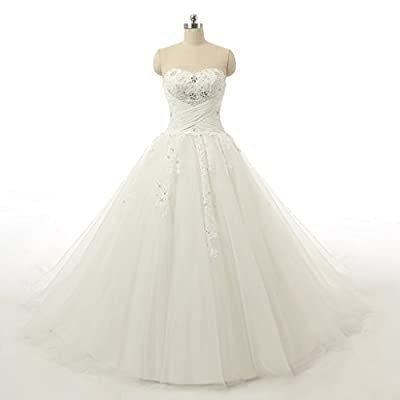Vantexi Women's Strapless Chapel Train Ball Gown Wedding Dress