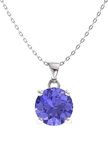 Diamondere Natural and Certified Tanzanite Solitaire Petite Necklace in 14k White Gold | 0.42 Carat Pendant with Chain