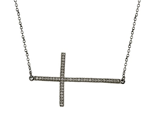 "Fronay Co .925 Sterling Silver Midnight Black Sideways CZ Cross Necklace, 16"""