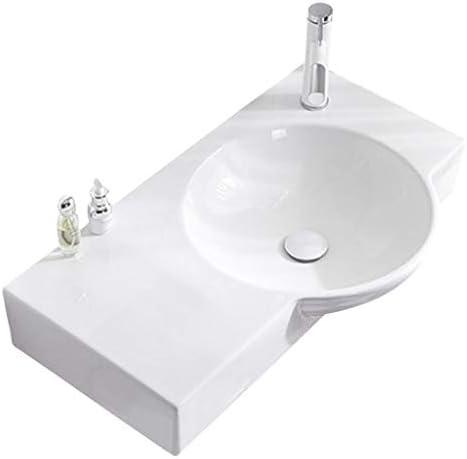 シンク周り用品 バスルームのシンク家庭用セラミック大きな丸い盆地壁掛け統合洗面浴室バルコニーバニティ (Color : 白, Size : 75.5*43.5*12.5cm)