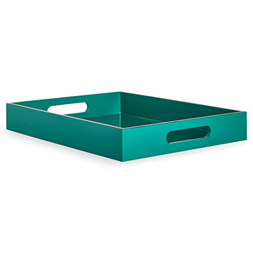 Now House by Jonathan Adler Chroma Chroma Lacquer Rectangular Tray, - Lacquer Emerald