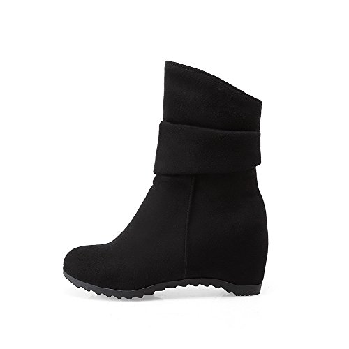 Allhqfashion Women's Frosted Round Closed Toe Solid Low-top Kitten-Heels Boots Black Lk5rqHEzo