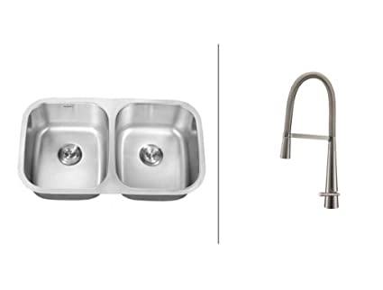 Kitchen Sink With Faucet Set | Ruvati Rvc2524 Stainless Steel Kitchen Sink And Stainless Steel
