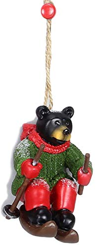 Young's Festive Black Northwood Bear Downhill Skiing Resin Christmas Tree Ornament #2