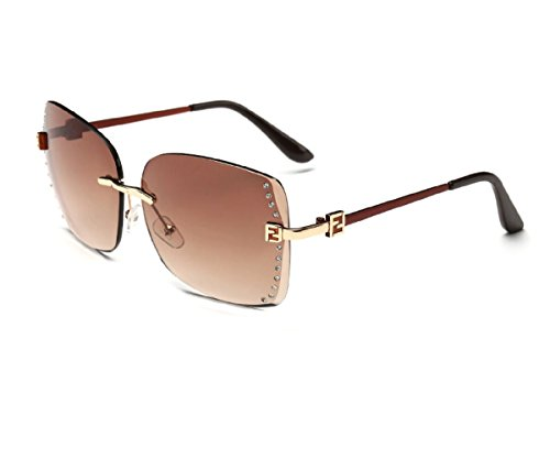 Konalla Square Rimless Gradient Lens Inlaid Crysstal Women's Sunglasses - Kardashian Collection Sunglasses