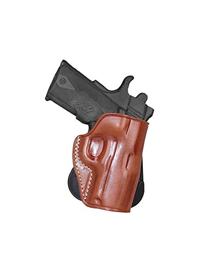 Premium Leather OWB Paddle Holster Open Top Fits Kimber Ultra Crimson Carry II 45 ACP 3''BBL Right Hand Draw, Brown Color #1469#