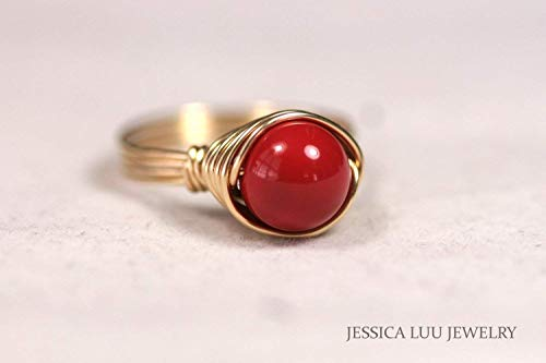 (Gold Red Coral Ring with Swarovski Pearl Wire Wrapped Yellow or Rose Gold)