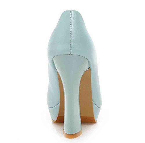 Easemax Womens Fashion Round Toe Low Cut Slip On Platform High Chunky Heel Pumps Shoes Blue kaIuXxb