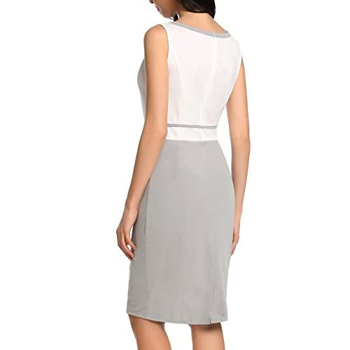 Zeagoo Damen Abendkleid Partykleid Casual O-Neck Ärmelloses Patchwork Kontrast Farbe Back Split Elastisch Slim Tank Sommer