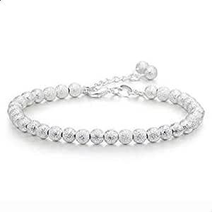 Women's Bracelet 925 Silver Bracelets Plated Round Beads Chain Bracelet